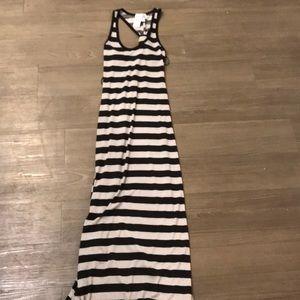 Striped black and grey summer slim dress